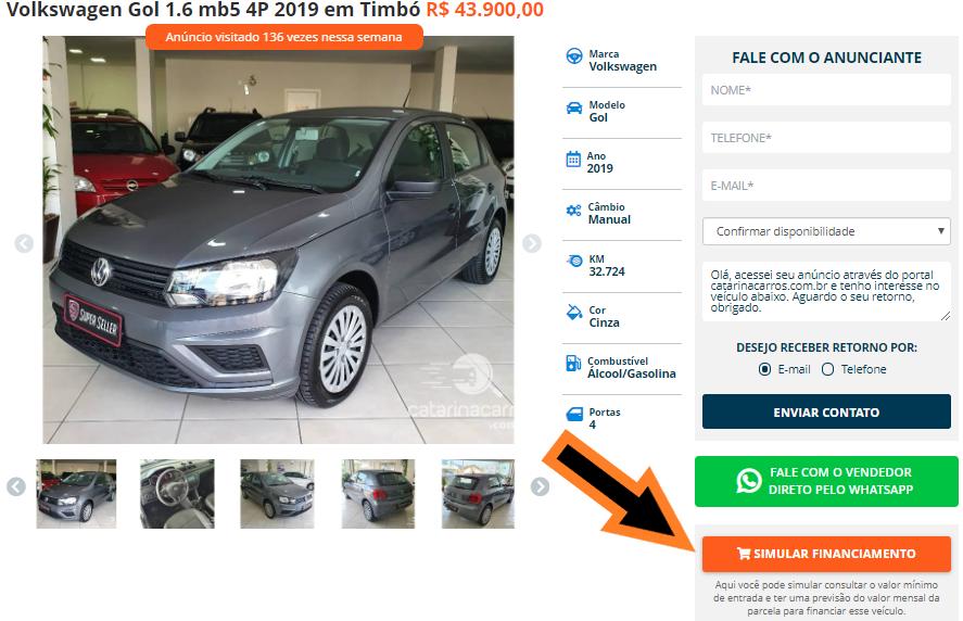 botão de simular e consultar um financiamento de veículos