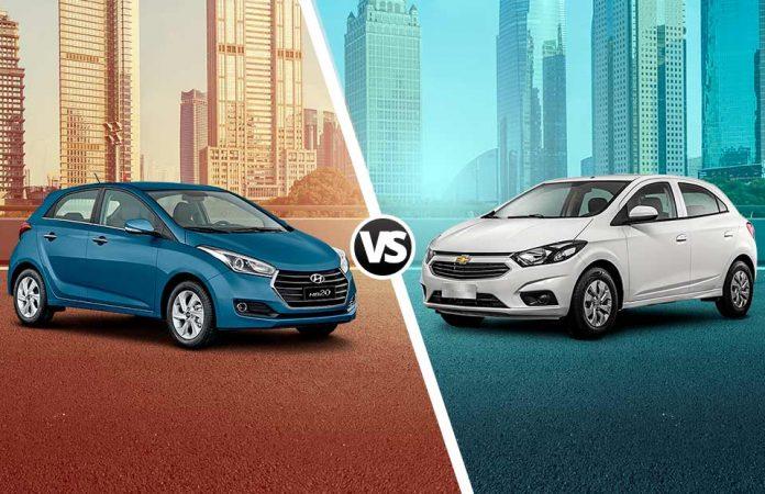 os hatches Chevrolet Onix e Hyundai HB20 respectivamente, foram atualizados.