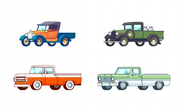 Conjunto de caminhonetes picapes coloridas