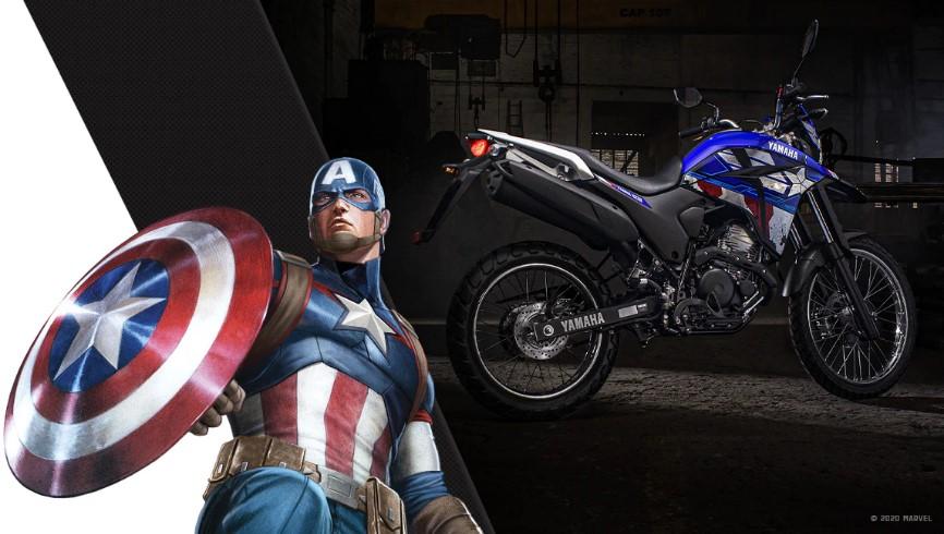 Moto Lander 250 Capitão América Yamaha e Marvel.